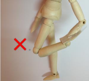 四頭筋ストレッチ3 ダメな例 膝が反対の膝より前に出ている