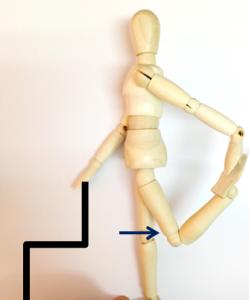 四頭筋ストレッチ4 効果的な方法 反対側の膝よりさらに後方に引く